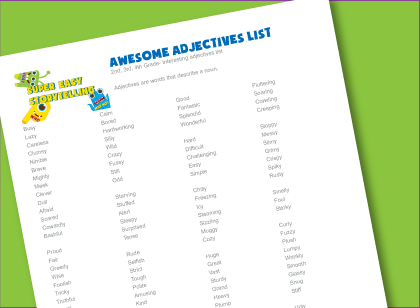 Awesome Adjectives List Super Easy Storytelling