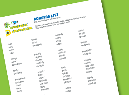 Worksheets Adverb List A-z adverbs list for kids super easy storytelling list