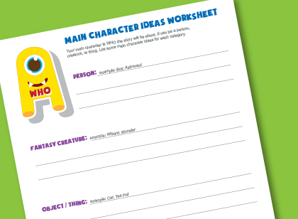 Writing Worksheet for Kids- Main Character Ideas