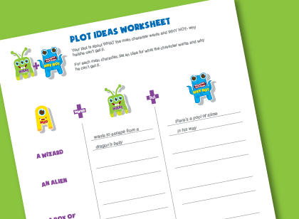 Language arts worksheet for kids on creating a story plot