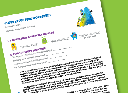 Language arts worksheet for kids teaches to identify rising and falling action, climax, main character in  creative writing