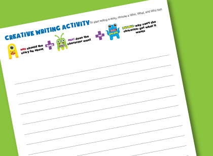 Creative writing activity worksheet for kids