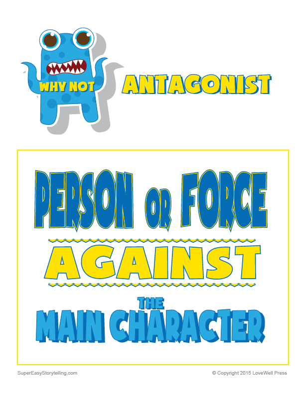what is an antagonist definition for kids- printable poster